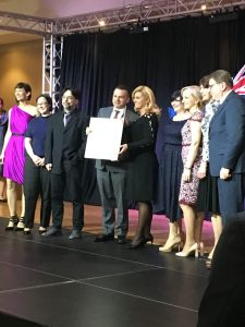 Members of the CSF GC accepting the CHARTER OF THE REPUBLIC OF CROATIA awarded to the Croatian Studies Foundation by the Croatian President.