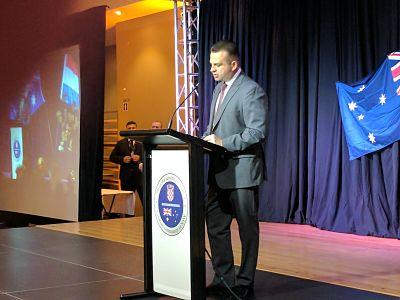 Mr John Gavljak giving a speech at the gala dinner at the Croatian club Sydney